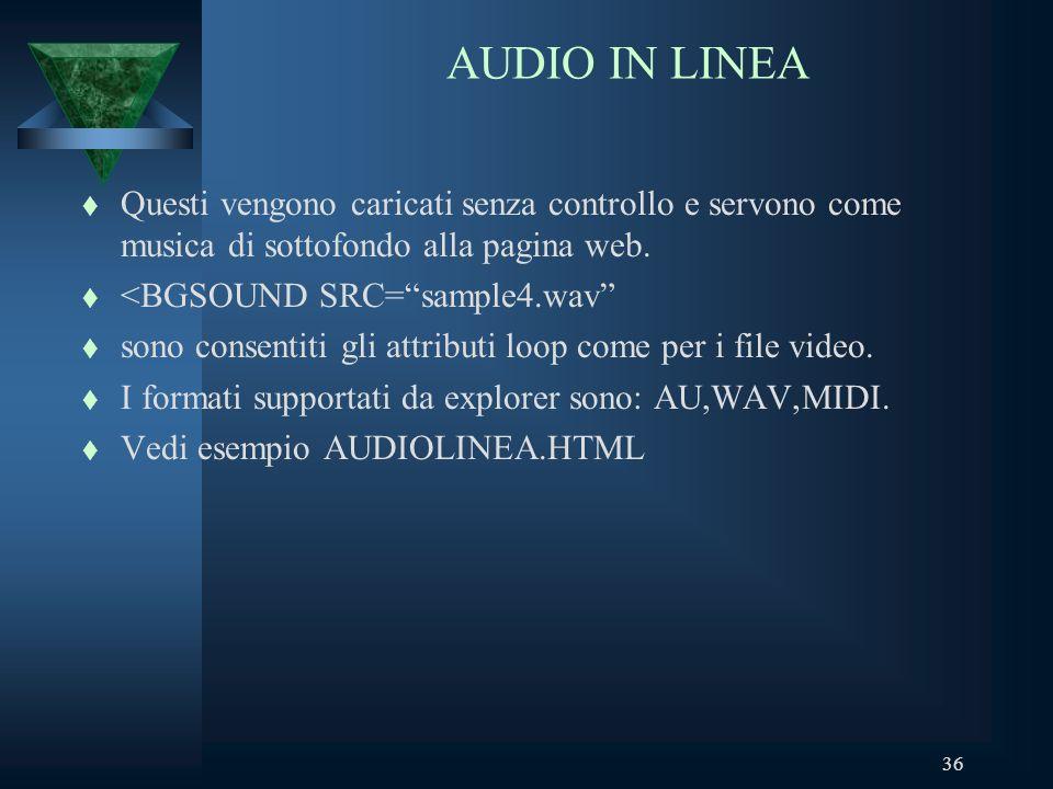 36 AUDIO IN LINEA t Questi vengono caricati senza controllo e servono come musica di sottofondo alla pagina web.