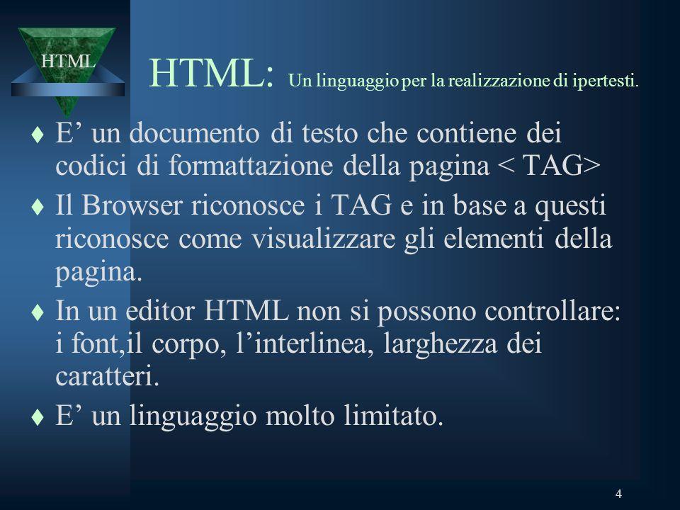 4 HTML: Un linguaggio per la realizzazione di ipertesti.