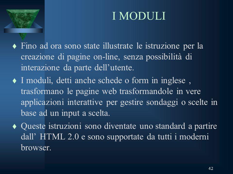 42 I MODULI t Fino ad ora sono state illustrate le istruzione per la creazione di pagine on-line, senza possibilità di interazione da parte dellutente.
