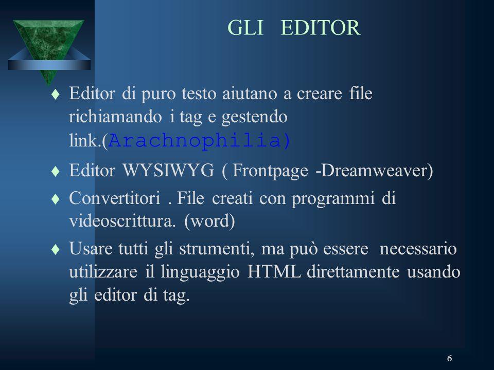 6 GLI EDITOR Editor di puro testo aiutano a creare file richiamando i tag e gestendo link.( Arachnophilia) t Editor WYSIWYG ( Frontpage -Dreamweaver) t Convertitori.