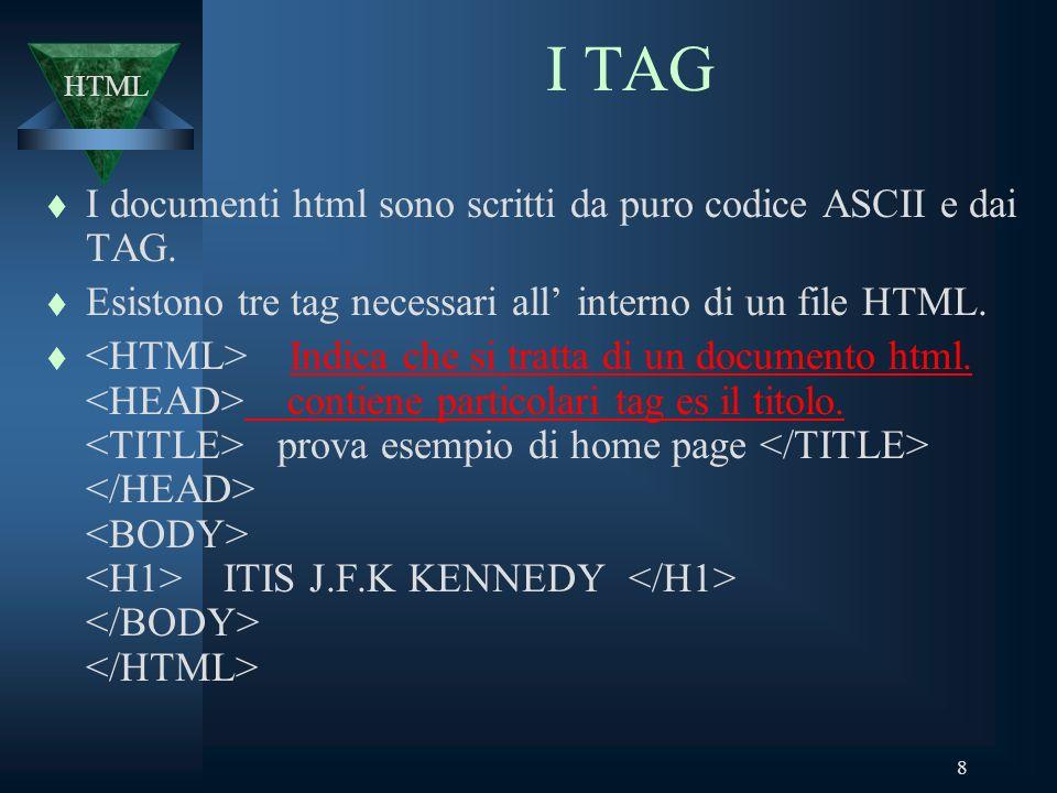 8 I TAG t I documenti html sono scritti da puro codice ASCII e dai TAG.