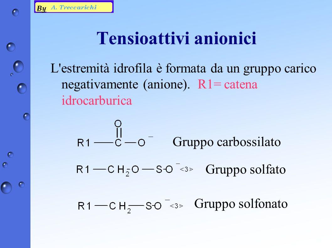 Tensioattivi anionici L estremità idrofila è formata da un gruppo carico negativamente (anione).
