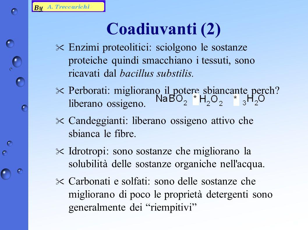 Coadiuvanti (2) Enzimi proteolitici: sciolgono le sostanze proteiche quindi smacchiano i tessuti, sono ricavati dal bacillus substilis.