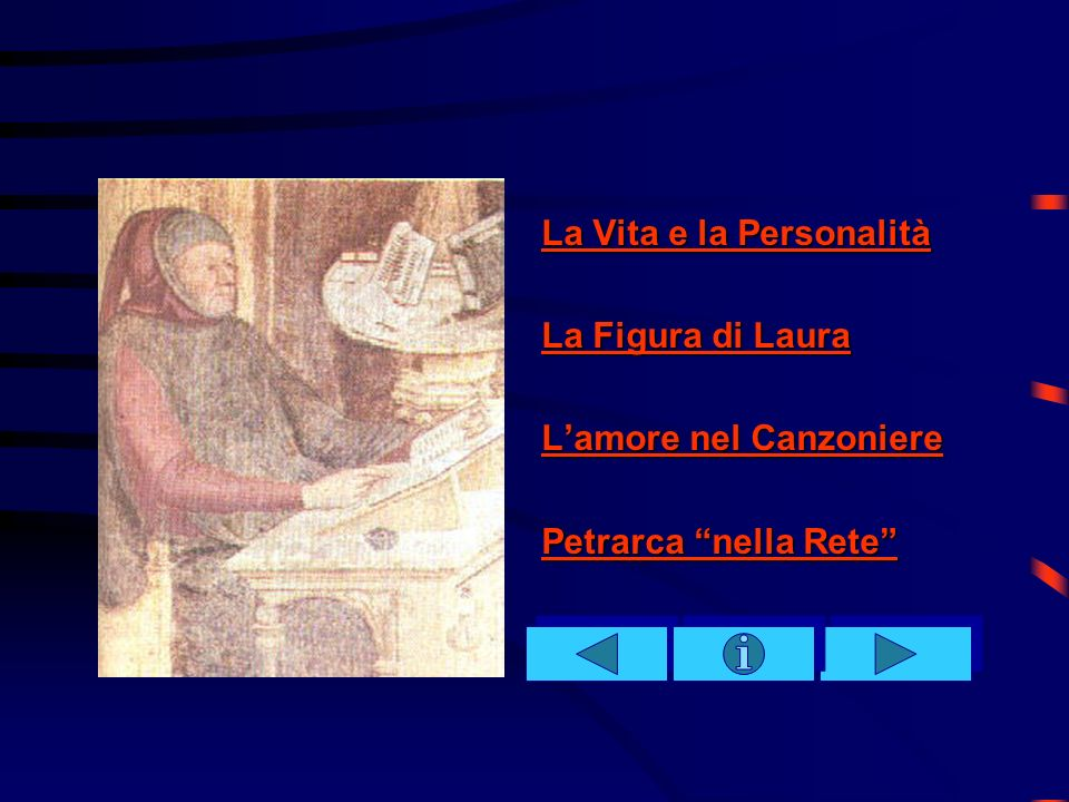 4- La quarta sezione (dal 248 al 266) è di raccordo tra la prima e la seconda parte del Canzoniere; nei sonetti finali della prima parte si introducono il motivo del presentimento della perdita di Laura e una esaltazione della sua castità.