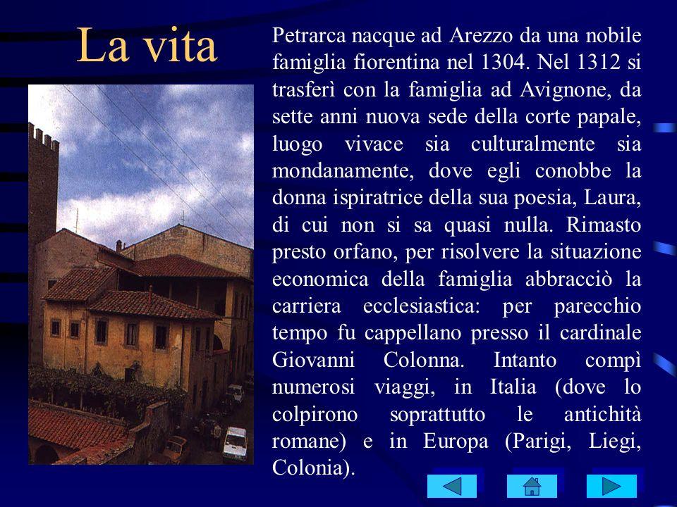 La vita Petrarca nacque ad Arezzo da una nobile famiglia fiorentina nel 1304. Nel 1312 si trasferì con la famiglia ad Avignone, da sette anni nuova se