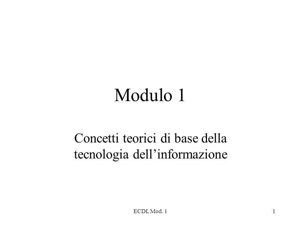 ECDL Mod. 11 Modulo 1 Concetti teorici di base della tecnologia dellinformazione