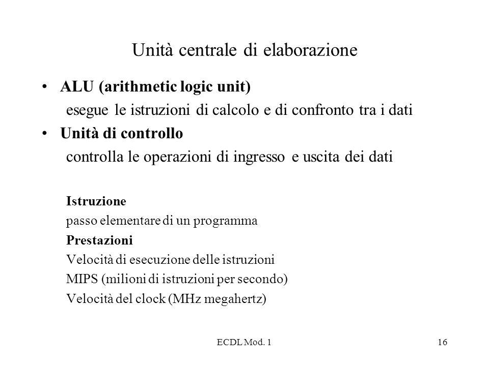 ECDL Mod. 116 Unità centrale di elaborazione ALU (arithmetic logic unit) esegue le istruzioni di calcolo e di confronto tra i dati Unità di controllo