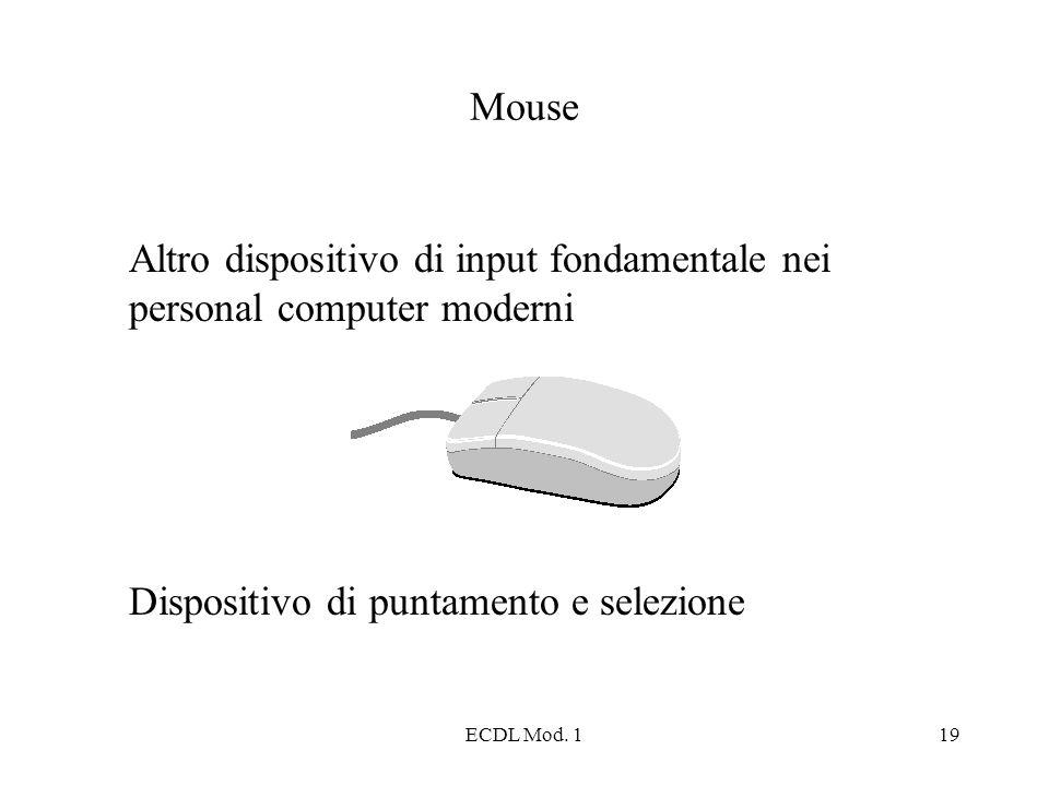ECDL Mod. 119 Mouse Altro dispositivo di input fondamentale nei personal computer moderni Dispositivo di puntamento e selezione