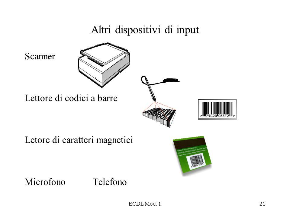 ECDL Mod. 121 Altri dispositivi di input Scanner Lettore di codici a barre Letore di caratteri magnetici Microfono Telefono