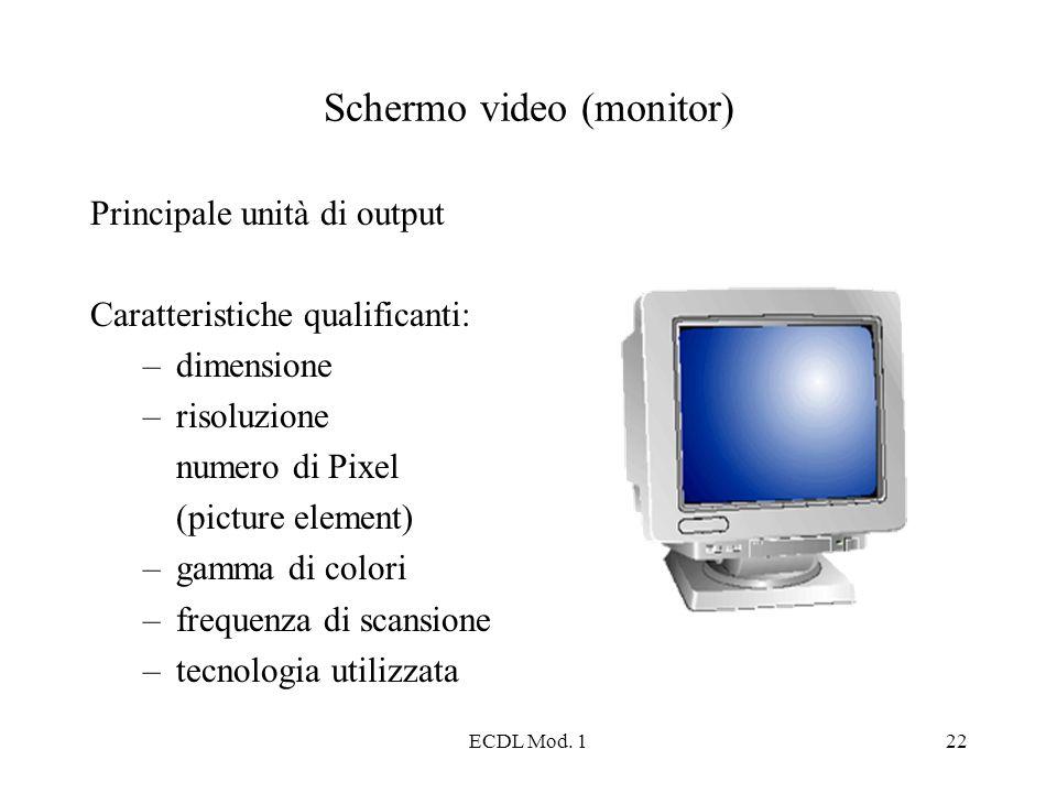 ECDL Mod. 122 Schermo video (monitor) Principale unità di output Caratteristiche qualificanti: –dimensione –risoluzione numero di Pixel (picture eleme