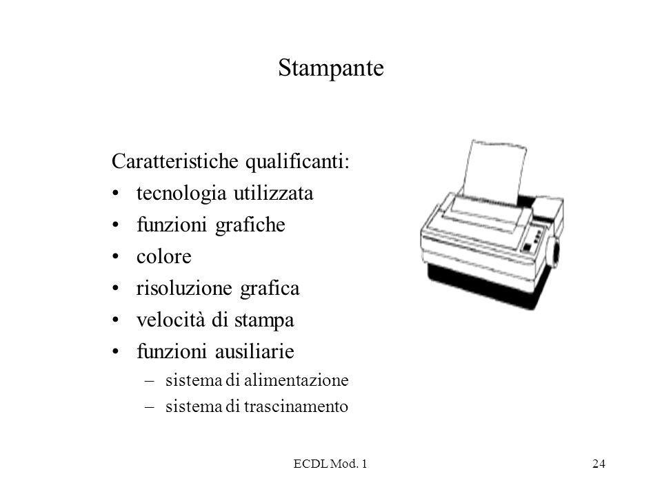 ECDL Mod. 124 Stampante Caratteristiche qualificanti: tecnologia utilizzata funzioni grafiche colore risoluzione grafica velocità di stampa funzioni a