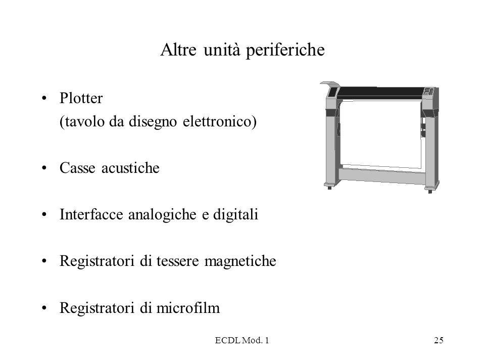 ECDL Mod. 125 Altre unità periferiche Plotter (tavolo da disegno elettronico) Casse acustiche Interfacce analogiche e digitali Registratori di tessere