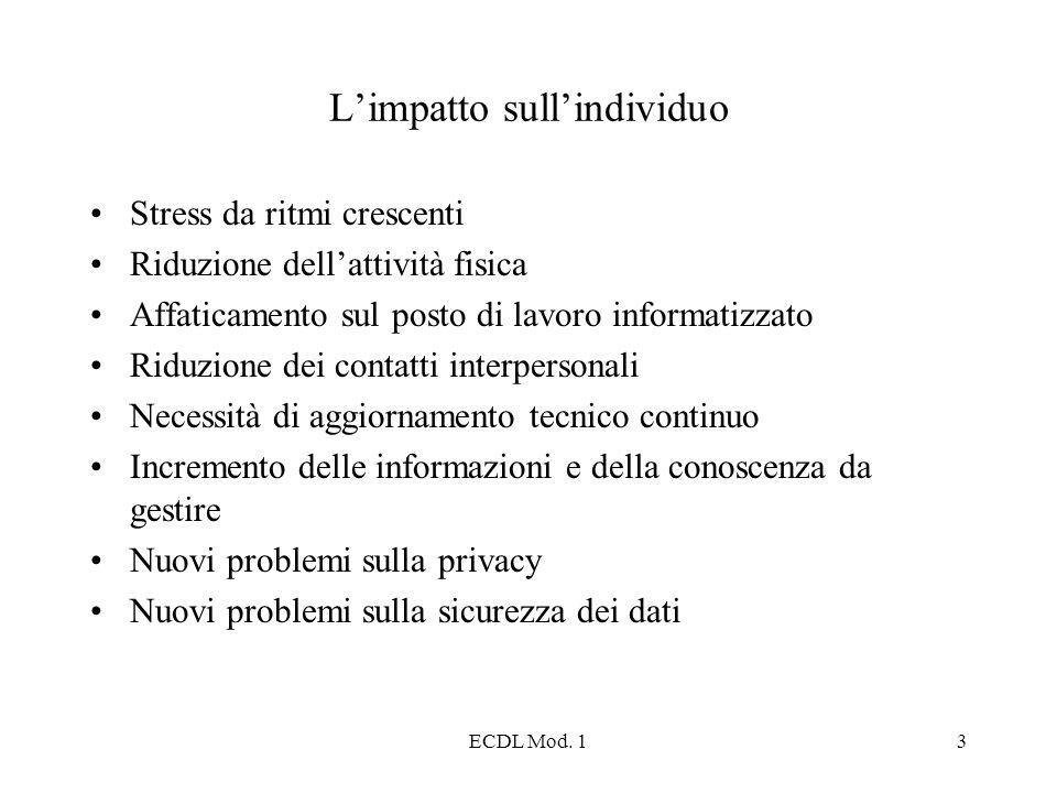 ECDL Mod. 13 Limpatto sullindividuo Stress da ritmi crescenti Riduzione dellattività fisica Affaticamento sul posto di lavoro informatizzato Riduzione