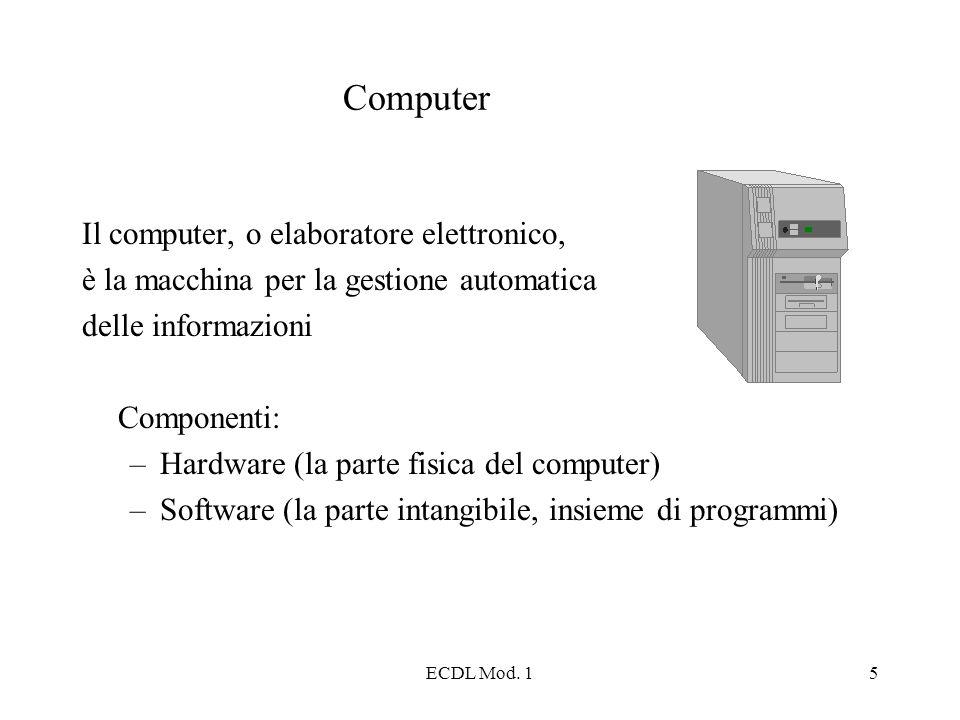 ECDL Mod. 15 Computer Il computer, o elaboratore elettronico, è la macchina per la gestione automatica delle informazioni Componenti: –Hardware (la pa