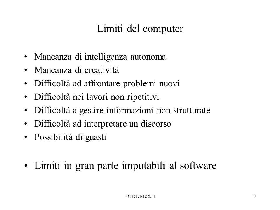 ECDL Mod. 17 Limiti del computer Mancanza di intelligenza autonoma Mancanza di creatività Difficoltà ad affrontare problemi nuovi Difficoltà nei lavor