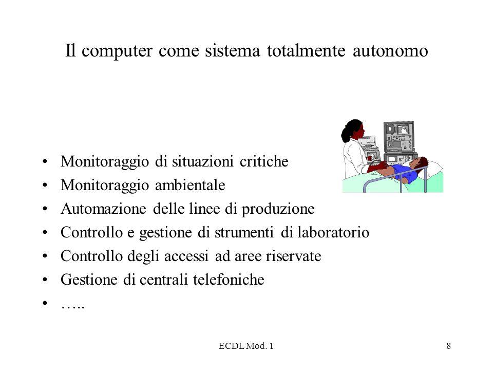 ECDL Mod. 18 Il computer come sistema totalmente autonomo Monitoraggio di situazioni critiche Monitoraggio ambientale Automazione delle linee di produ