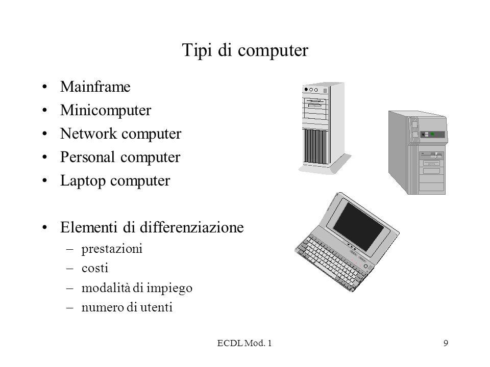 ECDL Mod. 19 Tipi di computer Mainframe Minicomputer Network computer Personal computer Laptop computer Elementi di differenziazione –prestazioni –cos