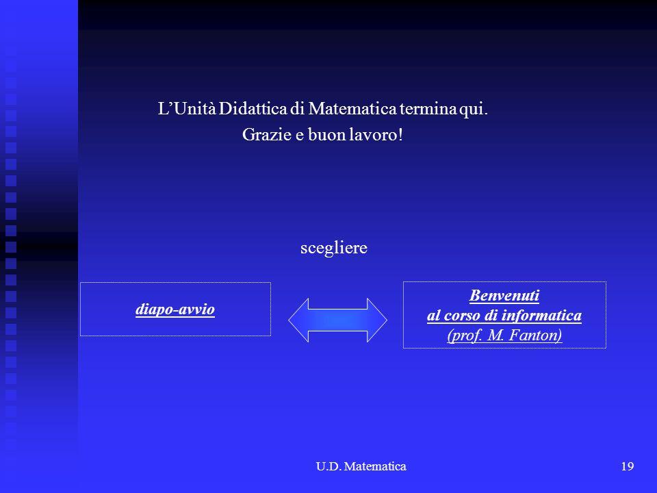U.D. Matematica19 LUnità Didattica di Matematica termina qui. Grazie e buon lavoro! Benvenuti al corso di informatica (prof. M. Fanton) scegliere diap