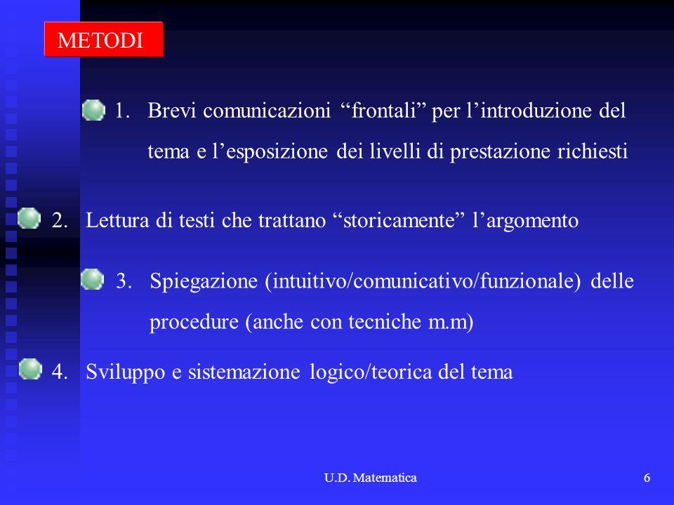 U.D. Matematica6 METODI 1.Brevi comunicazioni frontali per lintroduzione del tema e lesposizione dei livelli di prestazione richiesti 2. Lettura di te