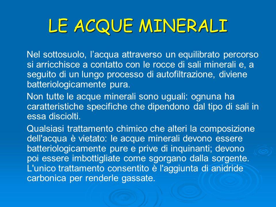 LE ACQUE MINERALI Nel sottosuolo, lacqua attraverso un equilibrato percorso si arricchisce a contatto con le rocce di sali minerali e, a seguito di un