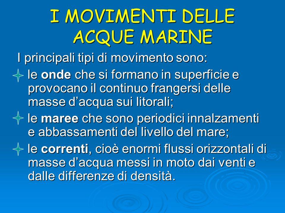 I MOVIMENTI DELLE ACQUE MARINE I principali tipi di movimento sono: le onde che si formano in superficie e provocano il continuo frangersi delle masse