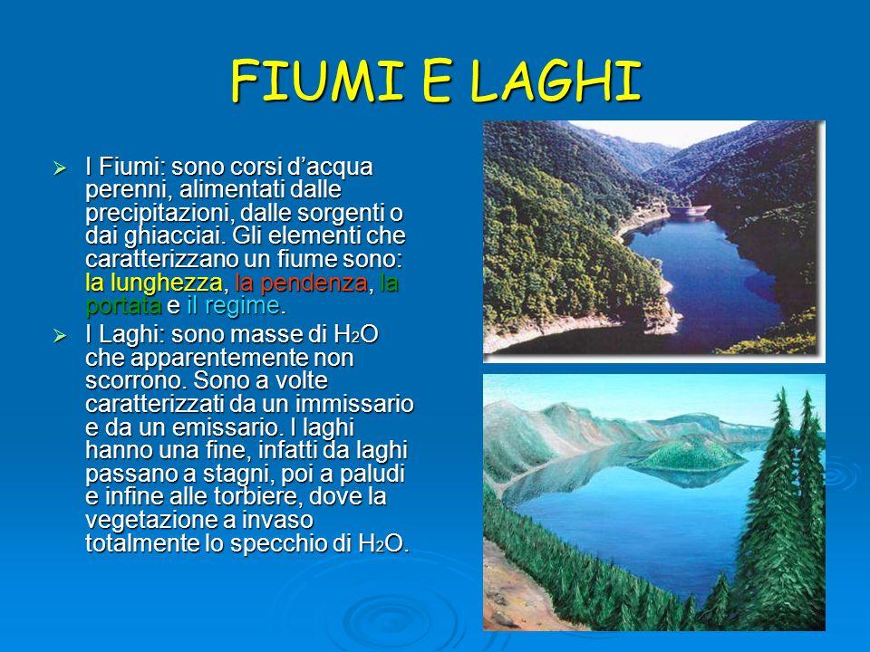 FIUMI E LAGHI I Fiumi: sono corsi dacqua perenni, alimentati dalle precipitazioni, dalle sorgenti o dai ghiacciai. Gli elementi che caratterizzano un