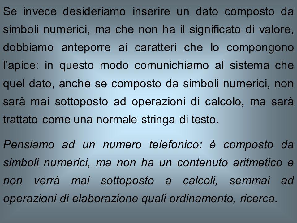 Se desideriamo inserire in una cella un valore numerico,è sufficiente digitare tale valore; se è corretto, contiene cioè solo cifre numeriche o simbol