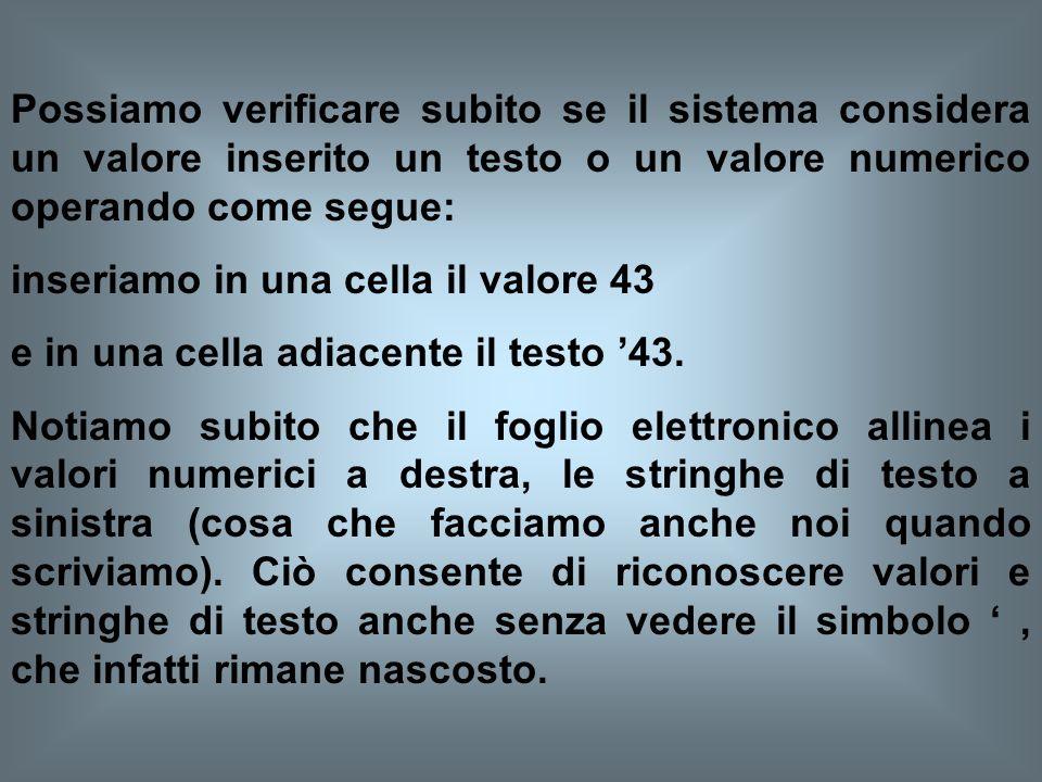 Se invece desideriamo inserire un dato composto da simboli numerici, ma che non ha il significato di valore, dobbiamo anteporre ai caratteri che lo co