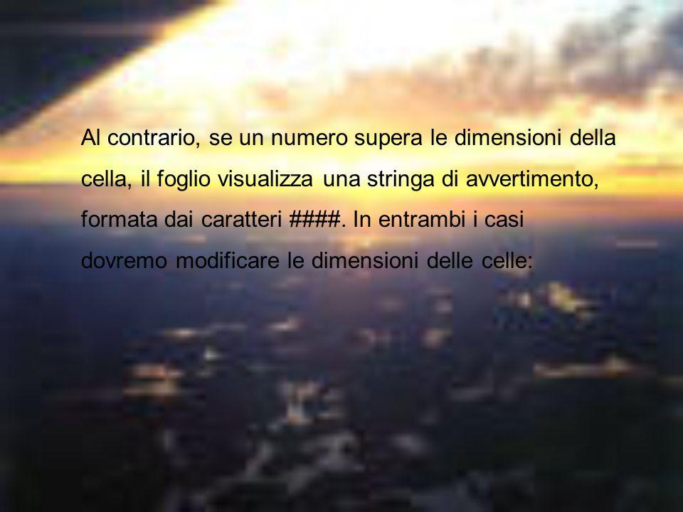 Se vogliamo inserire una stringa di testo, possiamo semplicemente digitarne i caratteri, facendo attenzione alla dimensione della cella che deve conte