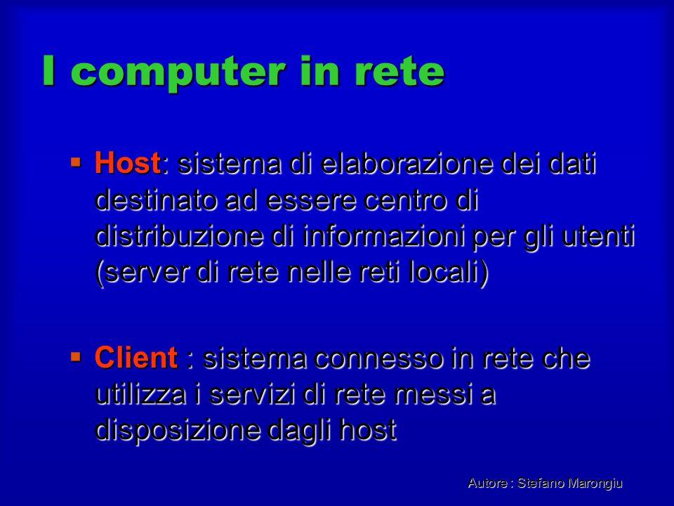 Autore : Stefano Marongiu I computer in rete Host: sistema di elaborazione dei dati destinato ad essere centro di distribuzione di informazioni per gl