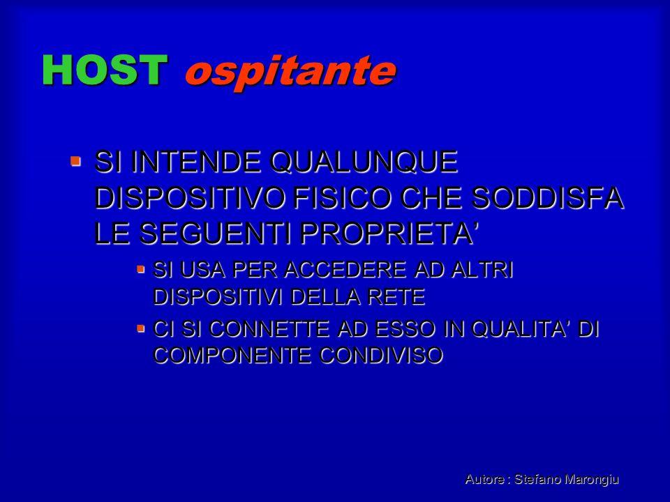 Autore : Stefano Marongiu HOST ospitante SI INTENDE QUALUNQUE DISPOSITIVO FISICO CHE SODDISFA LE SEGUENTI PROPRIETA SI INTENDE QUALUNQUE DISPOSITIVO F