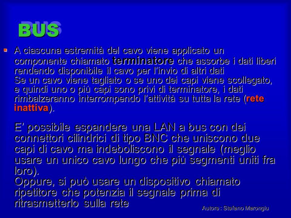 Autore : Stefano Marongiu BUSBUS A ciascuna estremità del cavo viene applicato un componente chiamato terminatore che assorbe i dati liberi rendendo d
