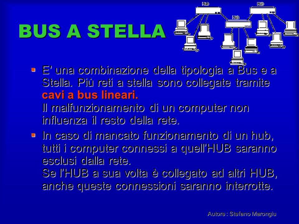 Autore : Stefano Marongiu BUS A STELLA E' una combinazione della tipologia a Bus e a Stella. Più reti a stella sono collegate tramite cavi a bus linea