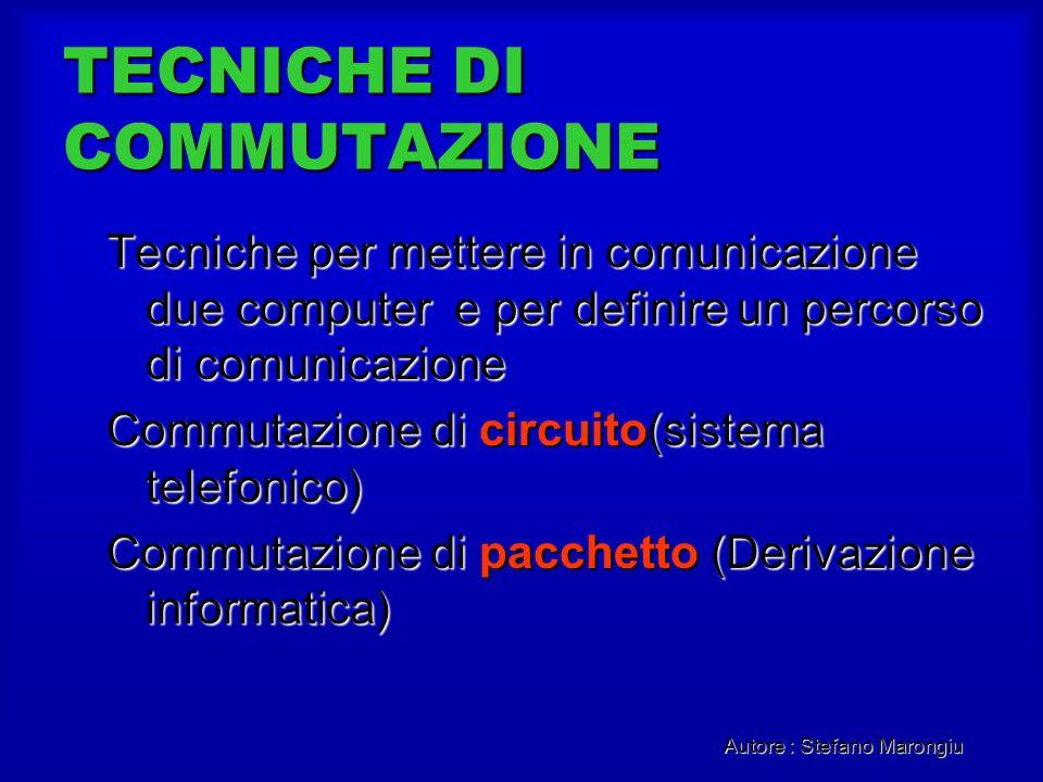 Autore : Stefano Marongiu TECNICHE DI COMMUTAZIONE Tecniche per mettere in comunicazione due computer e per definire un percorso di comunicazione Comm