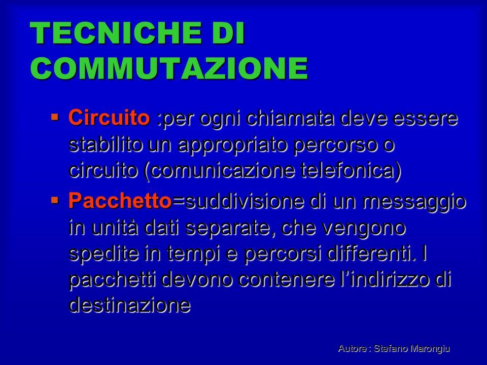 Autore : Stefano Marongiu TECNICHE DI COMMUTAZIONE Circuito :per ogni chiamata deve essere stabilito un appropriato percorso o circuito (comunicazione