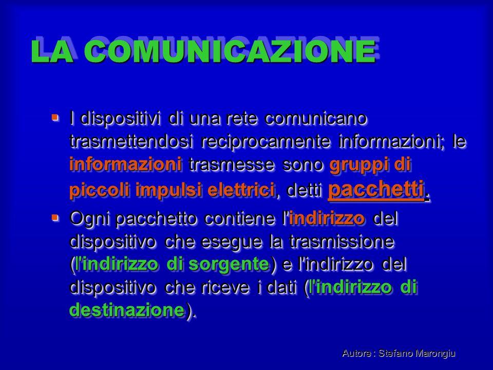 Autore : Stefano Marongiu LA COMUNICAZIONE I dispositivi di una rete comunicano trasmettendosi reciprocamente informazioni; le informazioni trasmesse