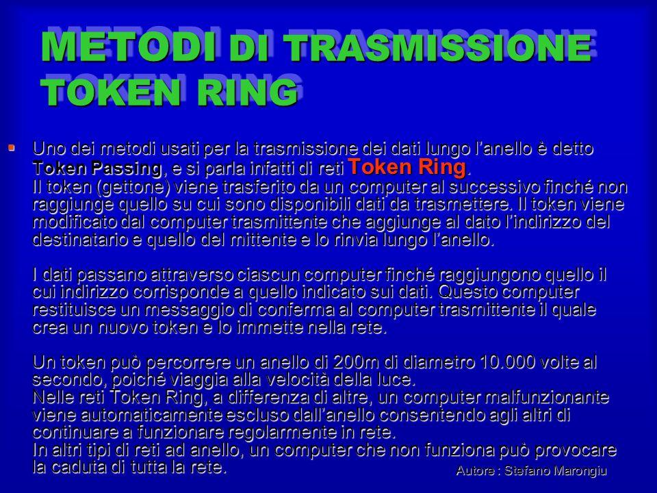 Autore : Stefano Marongiu METODI DI TRASMISSIONE TOKEN RING Uno dei metodi usati per la trasmissione dei dati lungo lanello è detto Token Passing, e s