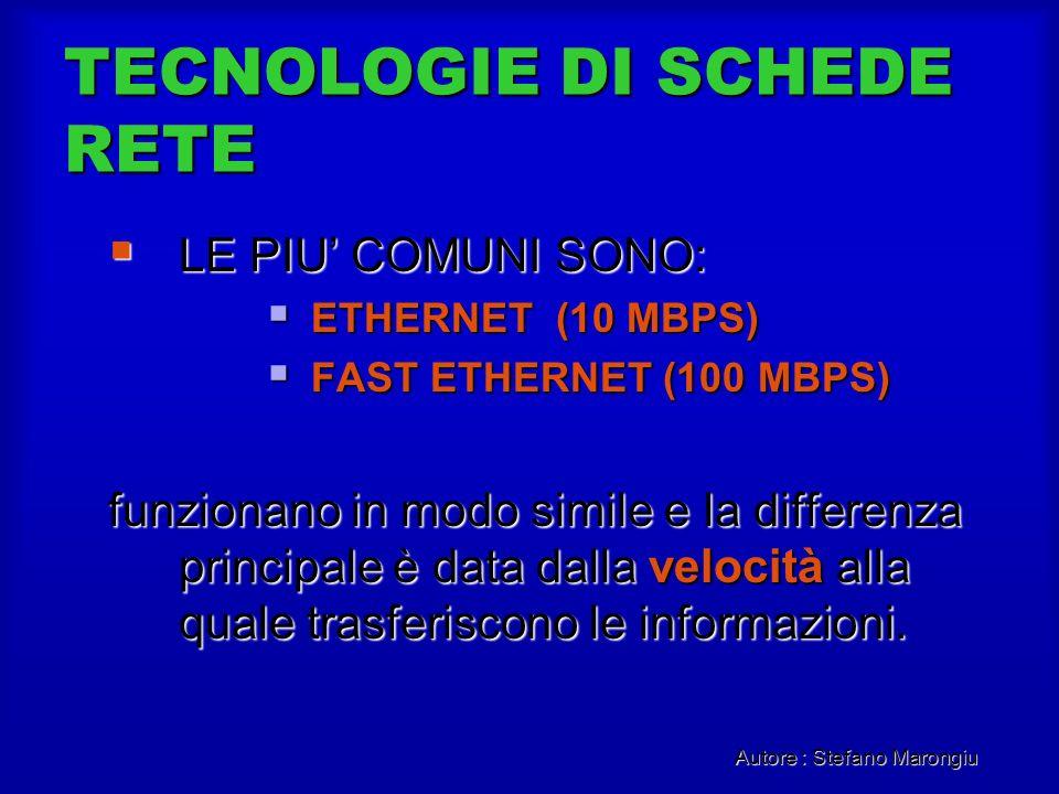 Autore : Stefano Marongiu TECNOLOGIE DI SCHEDE RETE LE PIU COMUNI SONO: LE PIU COMUNI SONO: ETHERNET (10 MBPS) ETHERNET (10 MBPS) FAST ETHERNET (100 M