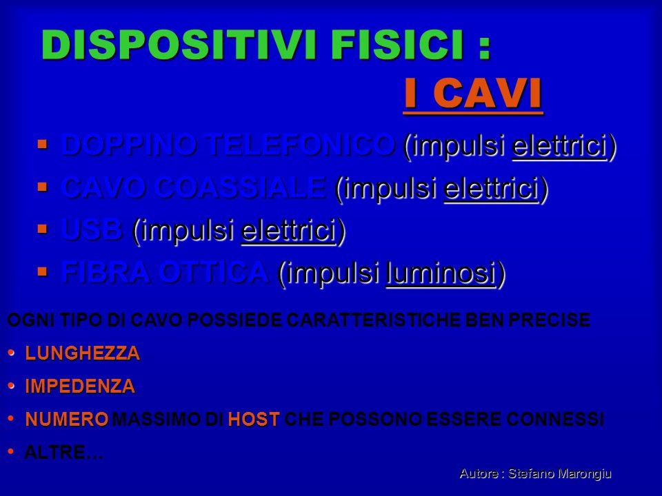 Autore : Stefano Marongiu DISPOSITIVI FISICI : I CAVI DOPPINO TELEFONICO (impulsi elettrici) DOPPINO TELEFONICO (impulsi elettrici) CAVO COASSIALE (im