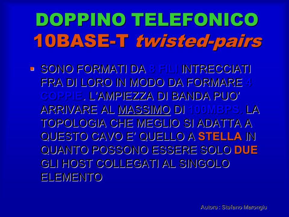 Autore : Stefano Marongiu DOPPINO TELEFONICO 10BASE-T twisted-pairs SONO FORMATI DA 8 FILI INTRECCIATI FRA DI LORO IN MODO DA FORMARE 4 COPPIE. LAMPIE