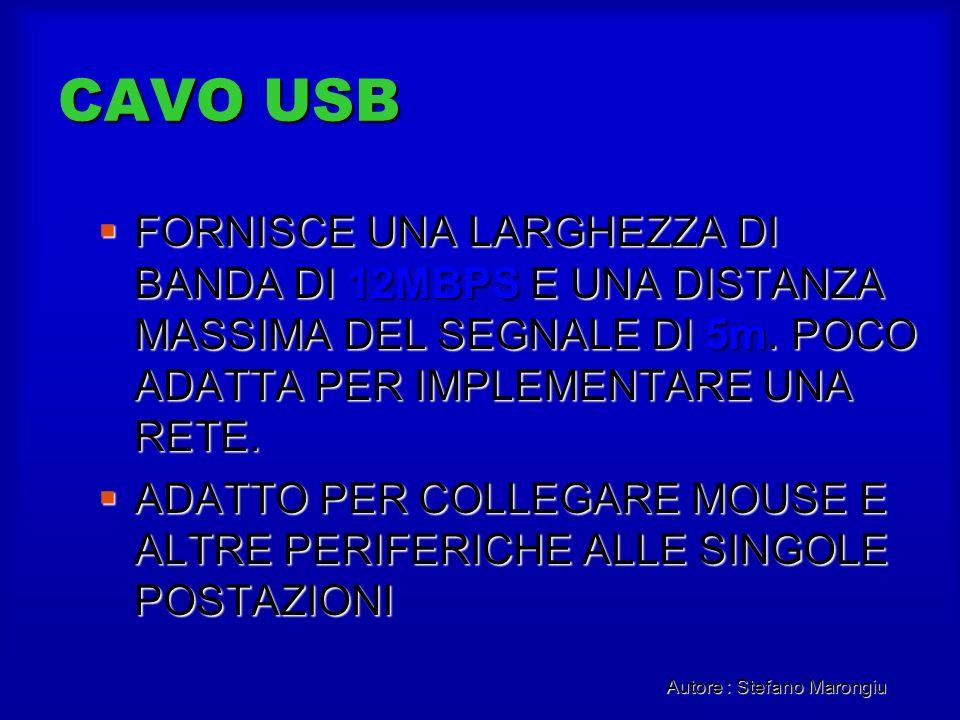 Autore : Stefano Marongiu CAVO USB FORNISCE UNA LARGHEZZA DI BANDA DI 12MBPS E UNA DISTANZA MASSIMA DEL SEGNALE DI 5m. POCO ADATTA PER IMPLEMENTARE UN