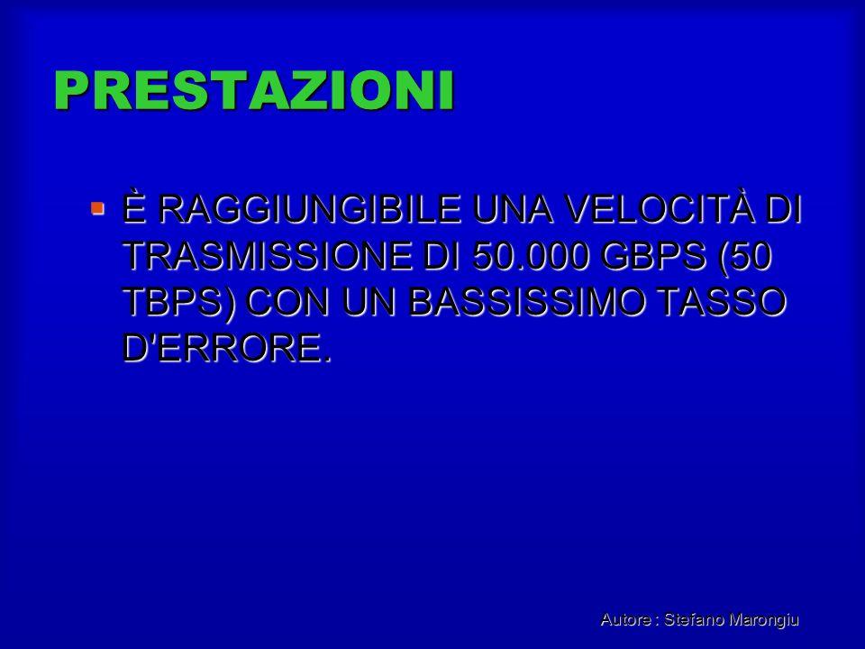 Autore : Stefano Marongiu PRESTAZIONI È RAGGIUNGIBILE UNA VELOCITÀ DI TRASMISSIONE DI 50.000 GBPS (50 TBPS) CON UN BASSISSIMO TASSO D'ERRORE. È RAGGIU