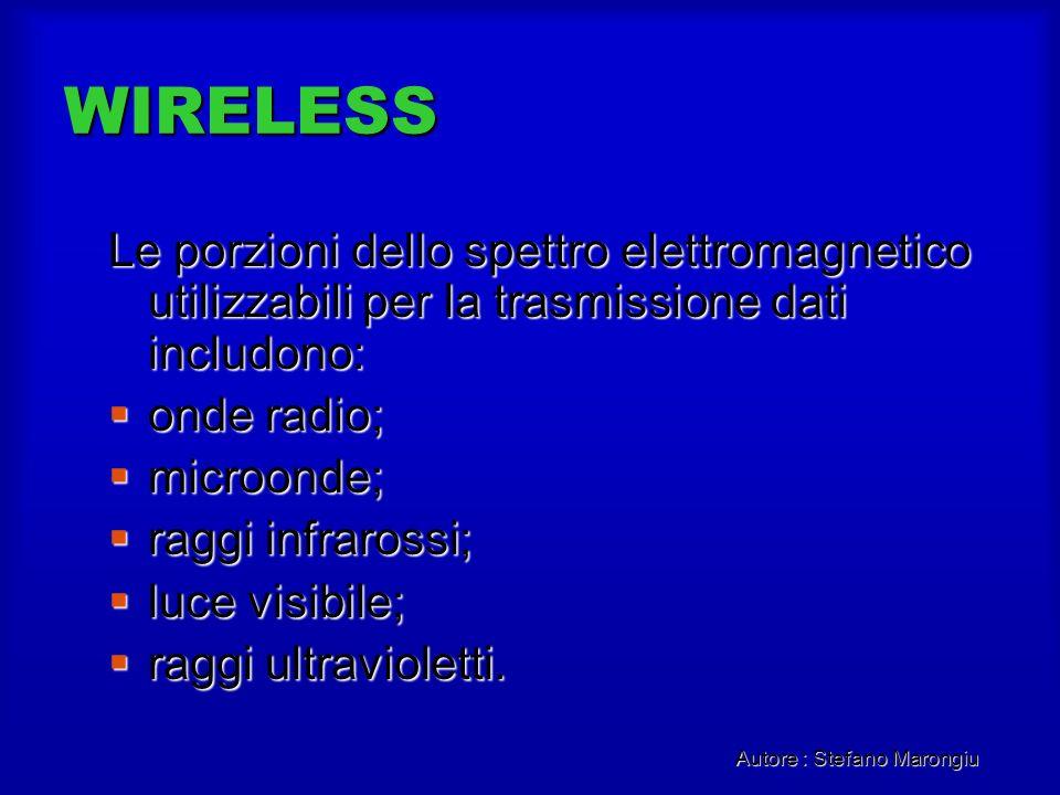 WIRELESS Le porzioni dello spettro elettromagnetico utilizzabili per la trasmissione dati includono: onde radio; onde radio; microonde; microonde; rag