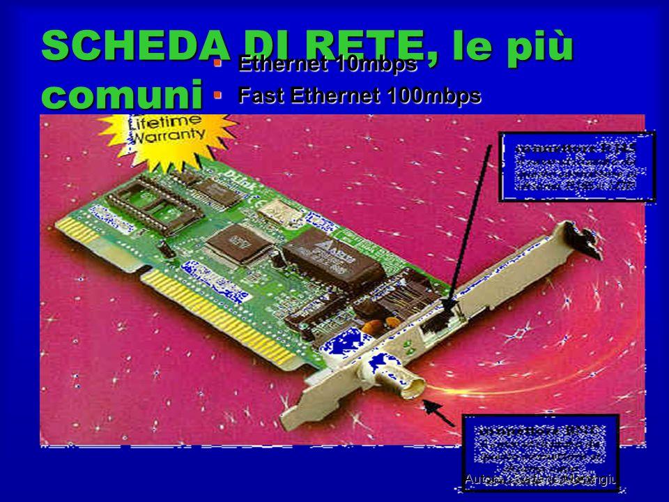 Autore : Stefano Marongiu SCHEDA DI RETE, le più comuni Ethernet 10mbps Ethernet 10mbps Fast Ethernet 100mbps Fast Ethernet 100mbps