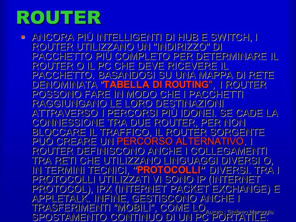 Autore : Stefano Marongiu ROUTER ANCORA PIÙ INTELLIGENTI DI HUB E SWITCH, I ROUTER UTILIZZANO UN