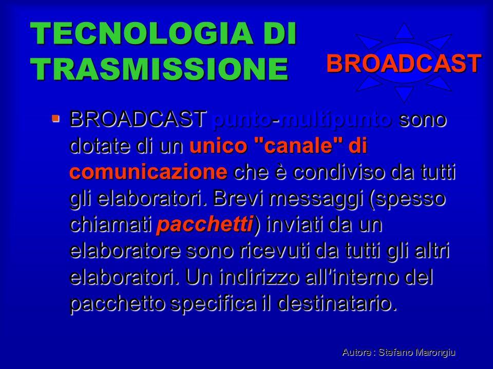 Autore : Stefano Marongiu TECNOLOGIA DI TRASMISSIONE BROADCAST punto-multipunto sono dotate di un unico