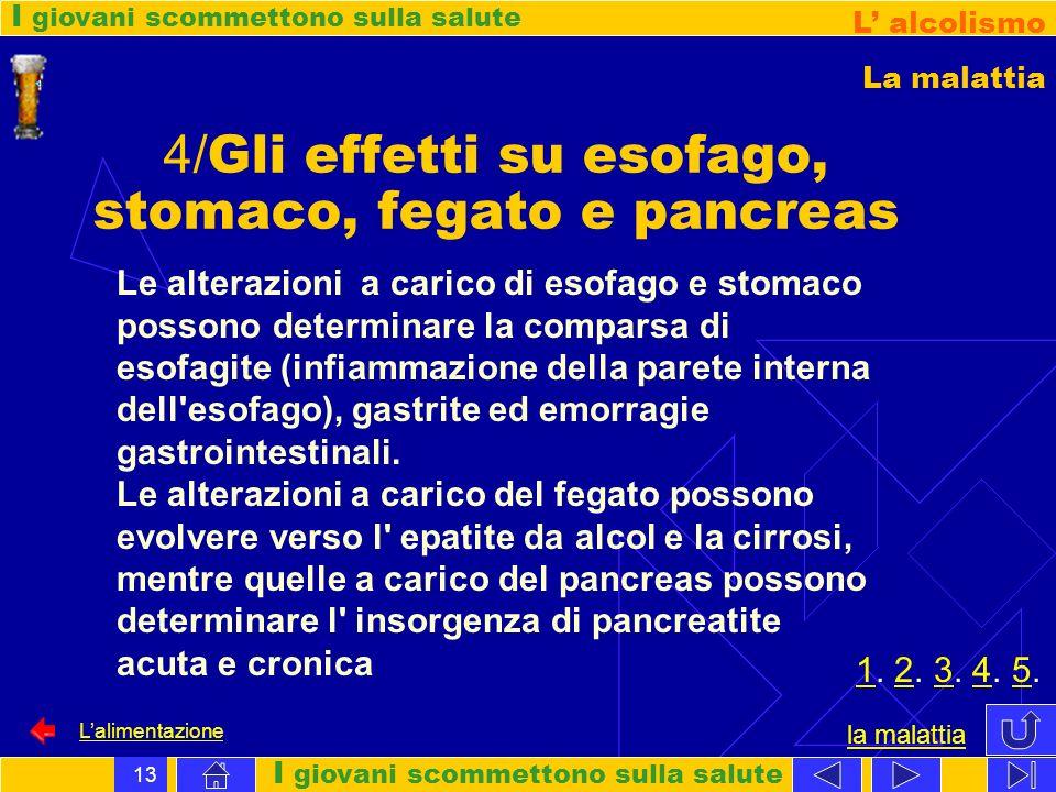 I giovani scommettono sulla salute L alcolismo Lalimentazione 13 4/ Gli effetti su esofago, stomaco, fegato e pancreas Le alterazioni a carico di esof