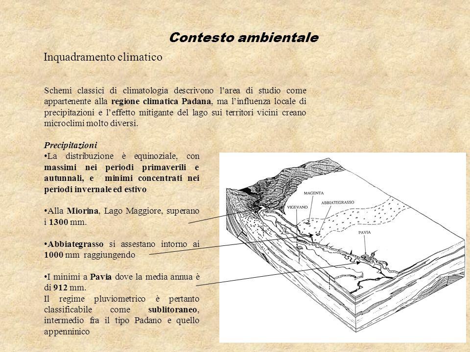 Inquadramento climatico Schemi classici di climatologia descrivono larea di studio come appartenente alla regione climatica Padana, ma linfluenza loca