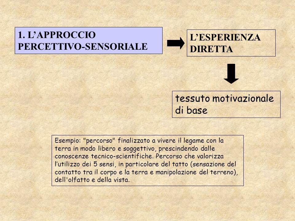 1. LAPPROCCIO PERCETTIVO-SENSORIALE LESPERIENZA DIRETTA Esempio: