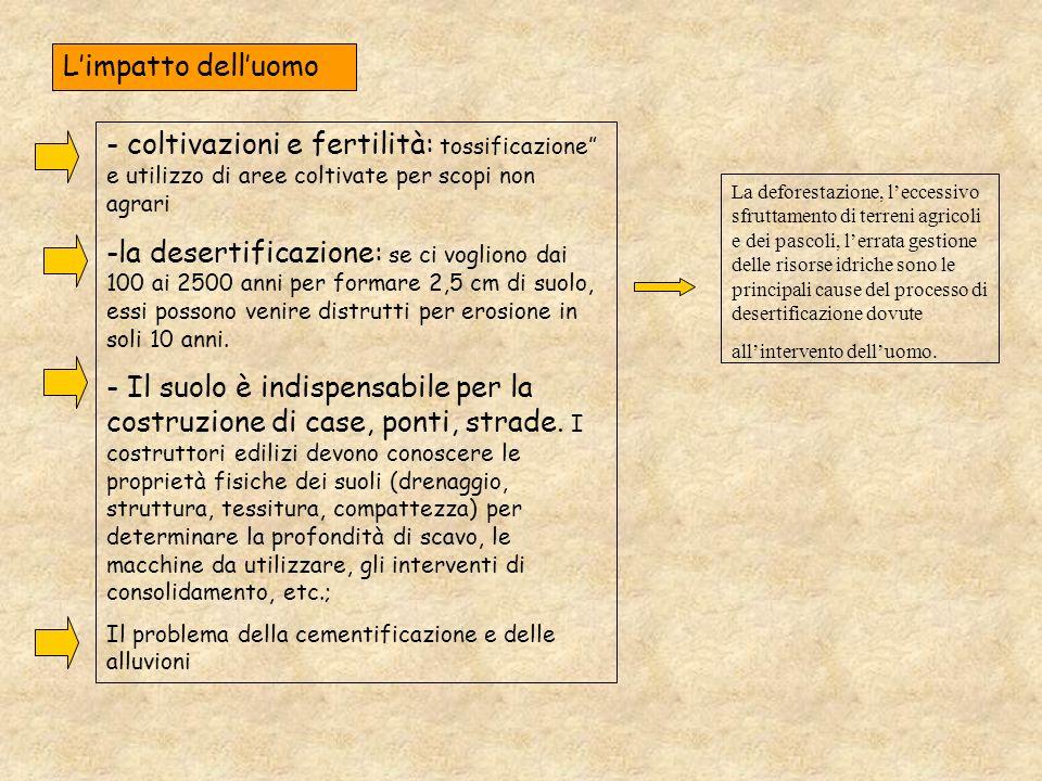 - coltivazioni e fertilità: tossificazione e utilizzo di aree coltivate per scopi non agrari -la desertificazione: se ci vogliono dai 100 ai 2500 anni